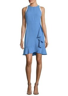 Shoshanna Grove Sleeveless Ruffled Stretch-Crepe Dress