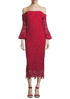 Harrison Lace Trumpet-Sleeve Cocktail Dress