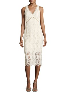 Shoshanna Hayworth Jewel-Neck Flounce-Sleeve Sheath Dress