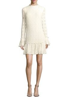 Shoshanna Heatherley Flounce High-Neck Long-Sleeve Lace Dress