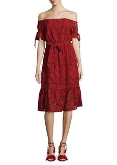 Shoshanna Hib Off-The-Shoulder Lace Sylvie Dress