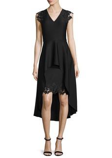 Shoshanna High-Low Peplum Cocktail Dress w/Lace Trim