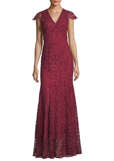 Shoshanna Howden V-Neck Lace Evening Gown