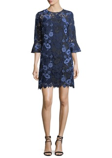 Shoshanna Jemima Bell-Sleeve Lace Shift Dress