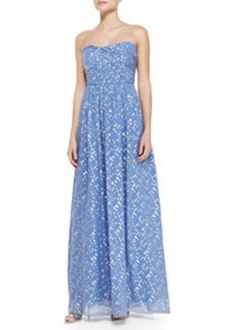 Shoshanna Jennifer Strapless Metallic Dot Gown, Periwinkle/Silver