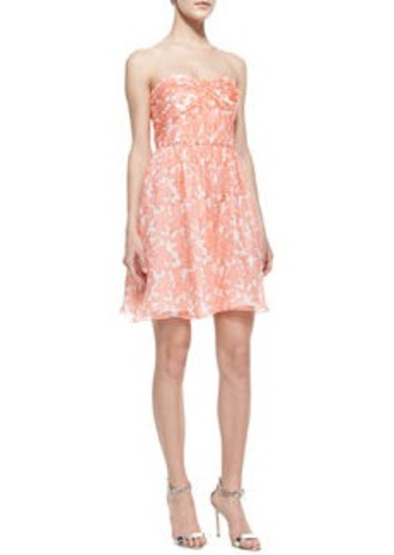 Shoshanna Jennifer Strapless Printed Chiffon Dress