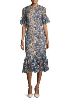 Shoshanna Keiko Multi-Floral Flounce-Hem Dress