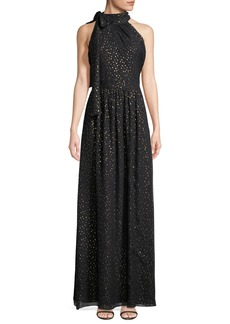 Shoshanna Kenmare Metallic Dot Column Gown