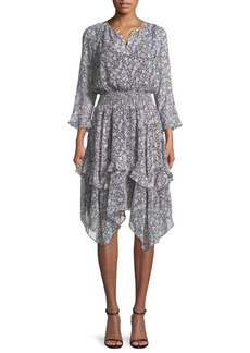 Shoshanna Koko Tiered Floral-Print Silk Blouson Dress