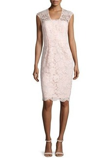 Shoshanna Lace Cap-Sleeve Sheath Dress