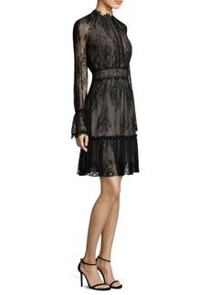 Lace Overlay Bell-Sleeve Mini Dress