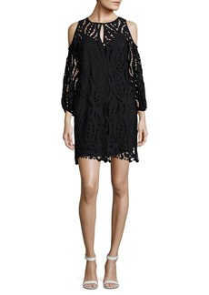 Shoshanna Lace Sheer Cold-Shoulder Dress
