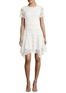 Shoshanna Laguna Short-Sleeve Lace Handkerchief Dress