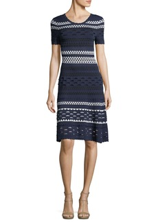Shoshanna Landale Short-Sleeve Knit Cutout Midi Dress