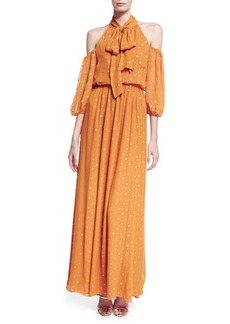 Shoshanna Laurel Cold-Shoulder Tie-Neck Dotted Maxi Dress