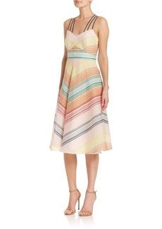 Shoshanna Leia Striped Strappy Silk Dress