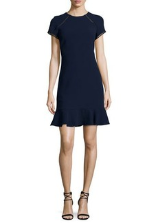 Shoshanna Lombard Raglan Fit-and-Flare Crepe Dress