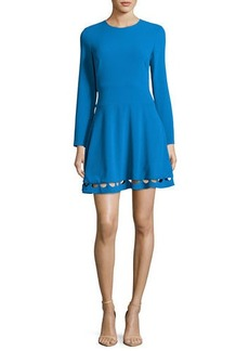 Shoshanna Long-Sleeve Crepe Cutout Fit-and-Flare Dress