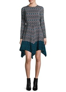 Shoshanna Long-Sleeve Printed Silk Handkerchief Dress