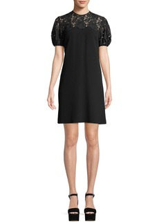 Shoshanna Lorena Lace-Yoke Mini Dress