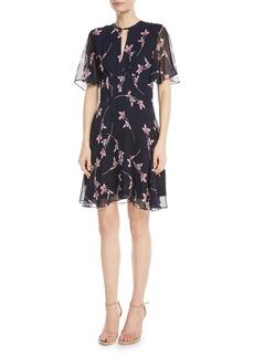 Shoshanna Masha Floral Chiffon Flutter-Sleeve Dress