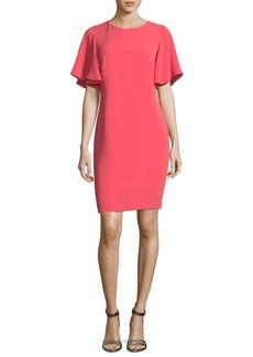 Shoshanna Mayberry Jewel-Neck Ruffled Sleeves Daytime Dress