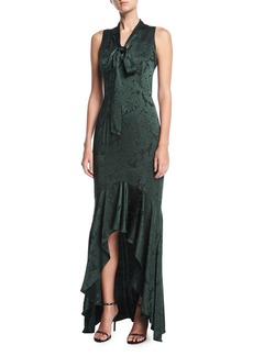 Shoshanna Mayburn Sleeveless Tie-Neck Floral Satin High-Low Gown