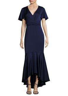 Shoshanna MIDNIGHT Cape Sleeve Hi-Lo Flounce Gown