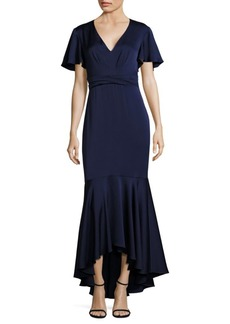 MIDNIGHT Cape-Sleeve Hi-Lo Gown