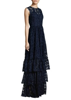 Shoshanna MIDNIGHT Daisy Embroidered Tiered Skirt Gown