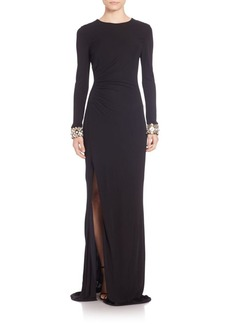Shoshanna MIDNIGHT Embellished-Cuff Wen Jersey Gown