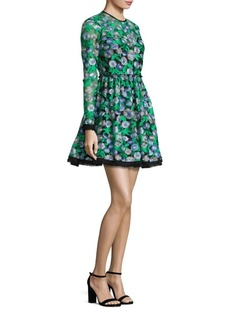 Shoshanna MIDNIGHT Floral Embroidered Fit-&-Flare Dress