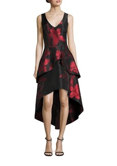 Shoshanna MIDNIGHT Floral Jacquard Hi-Lo Dress