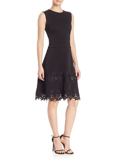 Shoshanna MIDNIGHT Floral Lace Fit-&-Flare Dress