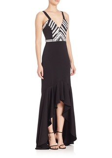 Shoshanna MIDNIGHT Geometric Beaded Gown