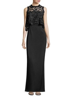 Shoshanna MIDNIGHT Lace & Crepe Popover Gown