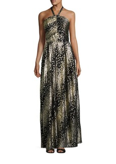 Shoshanna MIDNIGHT Metallic Clip Dot Halter Gown