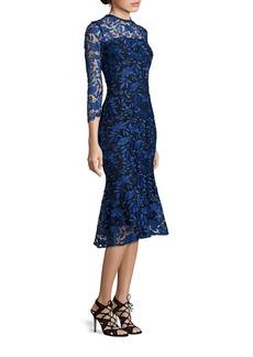 Shoshanna MIDNIGHT Two-Tone Lace Midi Dress