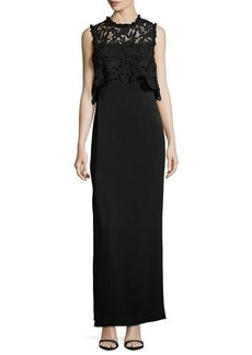 Shoshanna Minerva Sleeveless Lace Popover Column Gown