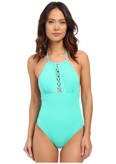 Shoshanna Mint Solid Front Lattice Maillot One-Piece