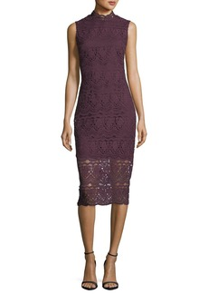 Shoshanna Mirian Mock-Neck Sleeveless Lace Daytime Dress