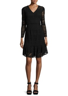 Shoshanna Mixed-Lace A-Line Flounce Dress