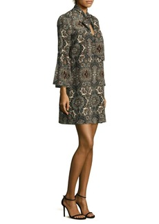 Printed Tie-Neck Silk Dress