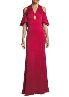 Shoshanna Mulberry V-Neck Cold-Shoulder Center Cutout Gown
