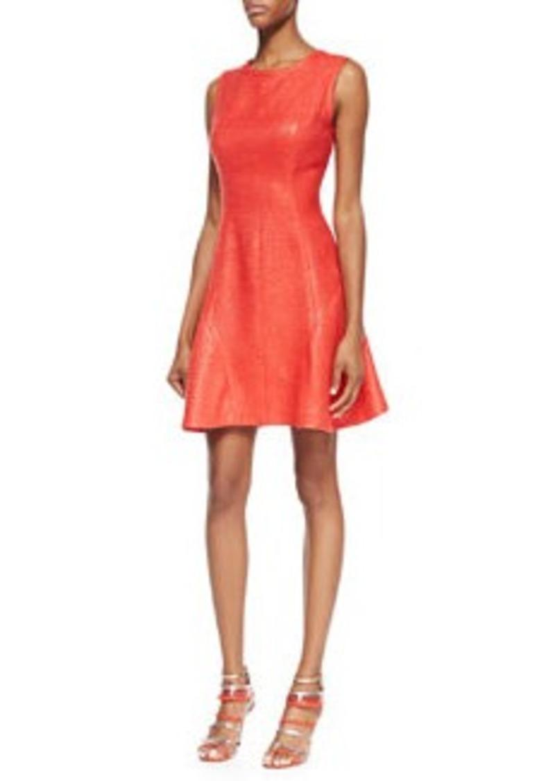 Shoshanna Naama Sleeveless Seamed Fit-and-Flare Dress, Cherry
