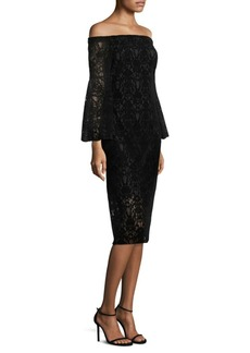Shoshanna Najlah Lace and Velvet Midi Dress