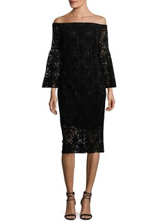 Shoshanna Najlah Off-the-Shoulder Velvet Lace Cocktail Dress