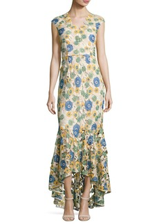 Shoshanna Norwalk Cap-Sleeve Floral-Lace Gown