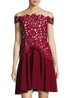 Shoshanna Off-The-Shoulder Combo Lace Cocktail Dress