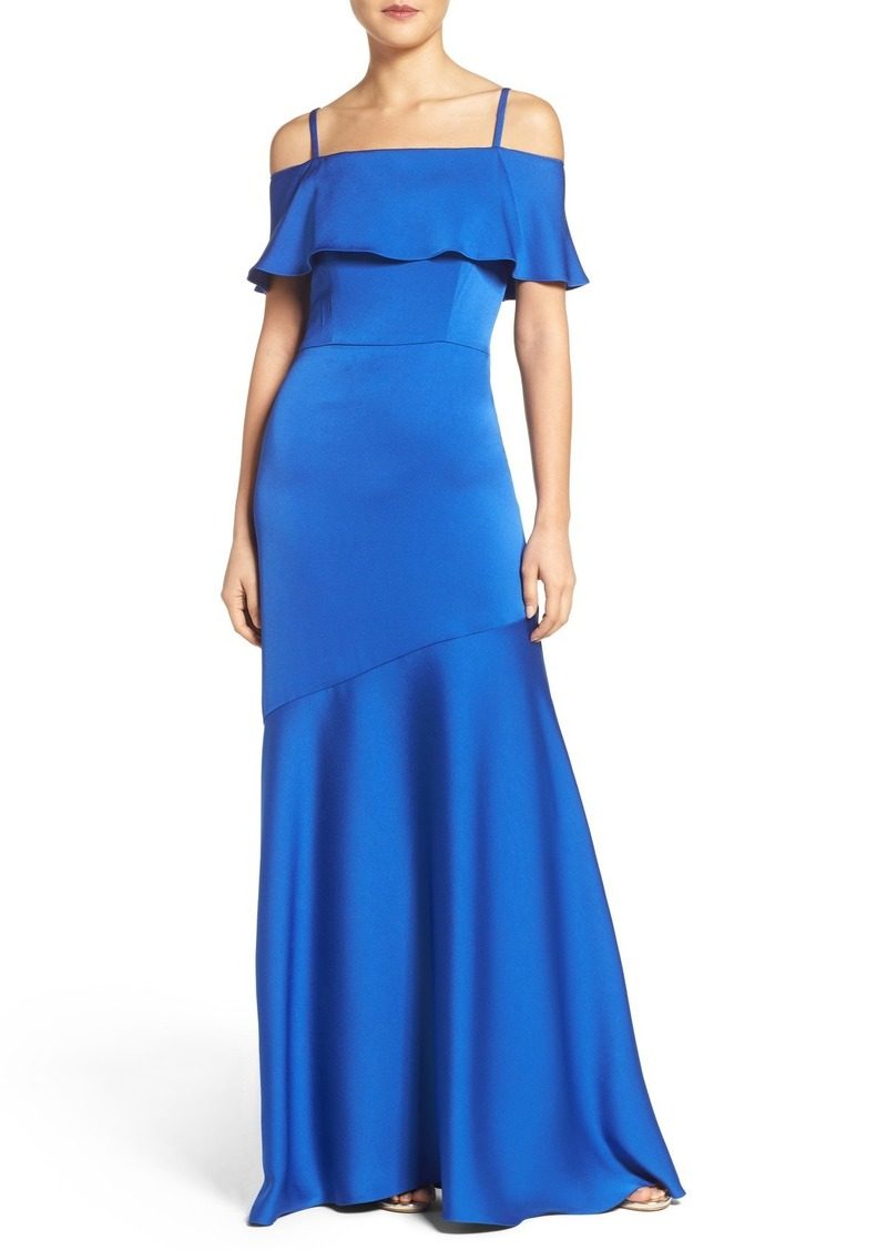 Shoshanna Off the Shoulder Crepe Satin Gown